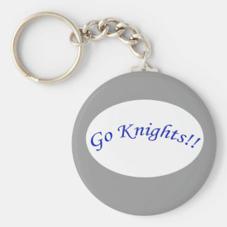 Go Knights! Curved Blue Text Silver Keychain