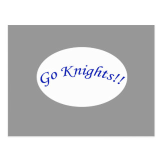 Go Knights! Curved Blue Text Silver Postcard