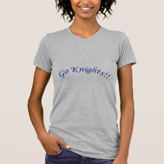 Go Knights! Curved Blue Text Silver Shirt Female