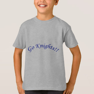 Go Knights! Curved Blue Text Silver Shirt Kids
