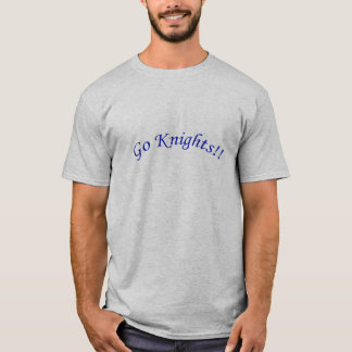 Go Knights! Curved Blue Text Silver Shirt Male
