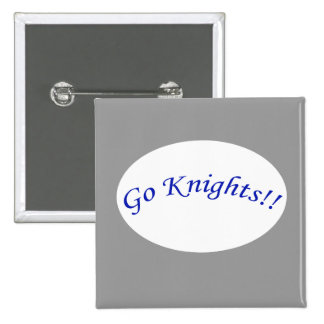 Go Knights! Curved Blue Text Silver Square Button