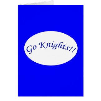 Go Knights! Curved Blue Text V Blue Greeting Card