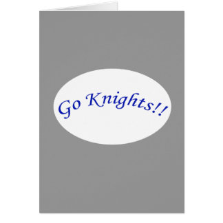 Go Knights! Curved Blue Text V Silvr Greeting Card