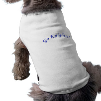 Go Knights! Curved Blue Text White Pet Clothing