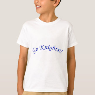 Go Knights! Curved Blue Text White Shirt Kids