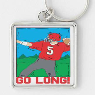 Go Long Silver-Colored Square Keychain