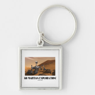 Go Martian Exploration! (Mars Rover Curiosity) Silver-Colored Square Keychain