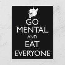 Go Mental Bull Terrier Postcard
