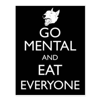 Go Mental Bull Terrier Postcard