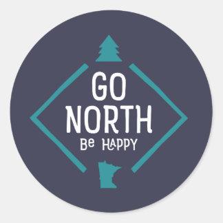 Go North Be Happy - Minnesota sticke turquoise/wht Classic Round Sticker