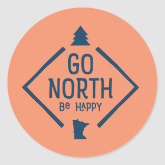 Go North Be Happy - Minnesota sticker blue