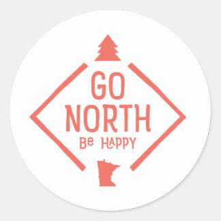 Go North Be Happy - Minnesota sticker coral
