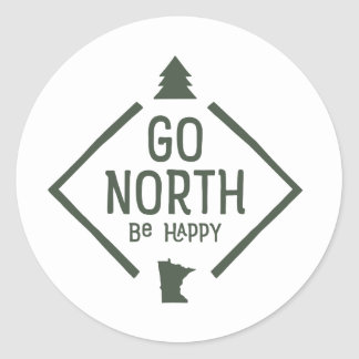 Go North Be Happy - Minnesota sticker green
