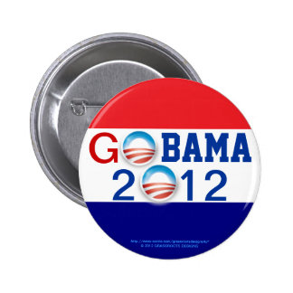 GO OBAMA 2012 3D Logo 2nd Term Pinback Button