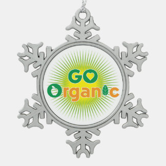 Go Organic Snowflake Pewter Christmas Ornament