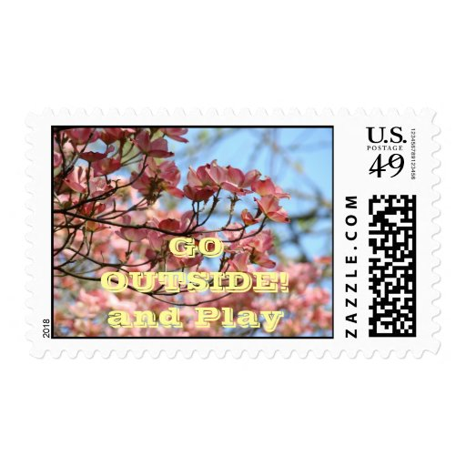 Go Outside! and Play Postage Stamps Pink Dogwood