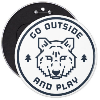 Go Outside and Play - Wolf Button