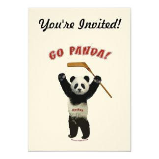 Go Panda Hockey Bear 5x7 Paper Invitation Card