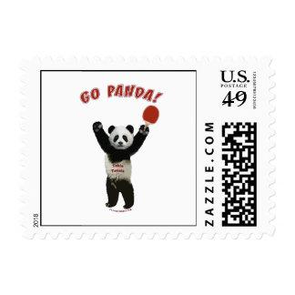Go Panda Ping Pong Postage Stamp
