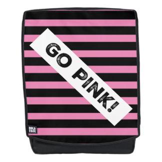 Go Pink! Black & Pink Stripes Boldface Backpack