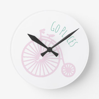 Go Places Round Wall Clock