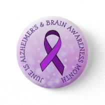 Go Purple for  Alzheimer's & Brain Awareness Month Button
