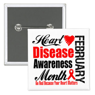 Go Red Awareness Month - Heart Disease Matters 2 Inch Square Button