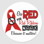 Go Red For Red Ribbon Week Round Sticker
