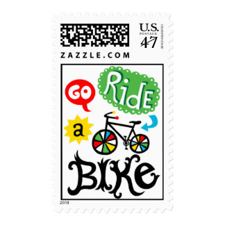 Go Ride a Bike - bicycle Postage Stamp