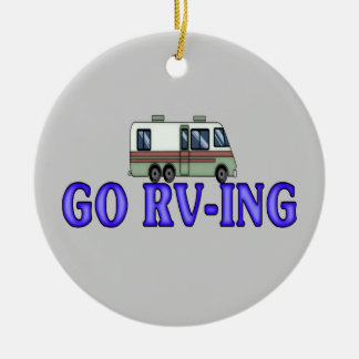 GO RV-ING Double-Sided CERAMIC ROUND CHRISTMAS ORNAMENT