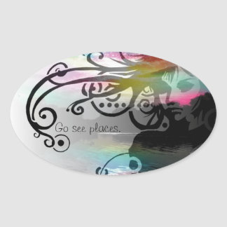Go see places oval sticker