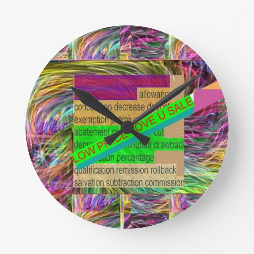 Go SHOPPING : Wear a LOW PRICE tag SHIRT BUTTON Round Wallclock