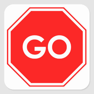 """Go"" Stop Sign Humor Stickers"