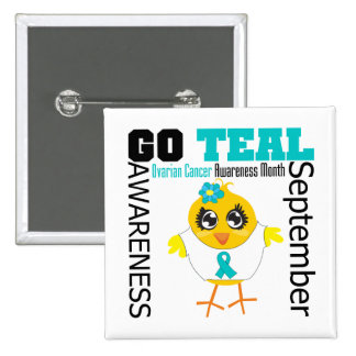 Go Teal For Ovarian Cancer Awareness Month Pinback Buttons