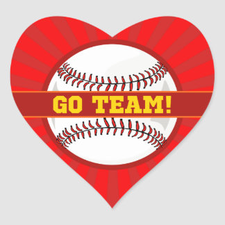 Go Team Baseball Heart Sticker