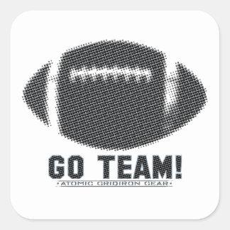 Go Team Black and Silver Square Sticker
