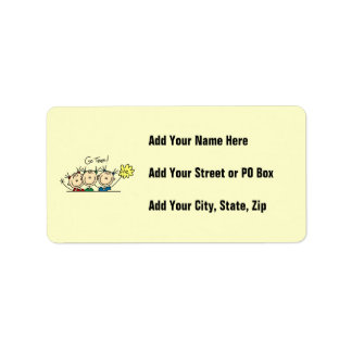 Go Team Cheerleaders T-shirts and Gifts Address Label