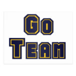 Go Team Gold and Blue Post Cards