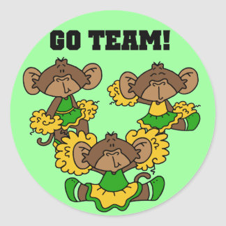 Go Team Green and Gold Tshirts and Gifts Classic Round Sticker