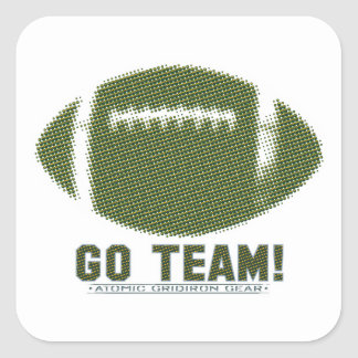Go Team Green and Yellow Square Sticker
