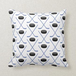 Go Team! Hockey Blue Throw Pillow