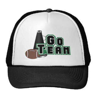 Go Team in Black and Green With Football Trucker Hat