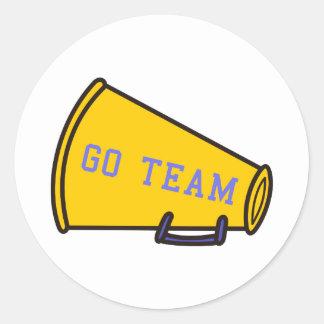 Go Team Megaphone Classic Round Sticker