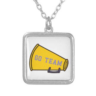 Go Team Megaphone Square Pendant Necklace