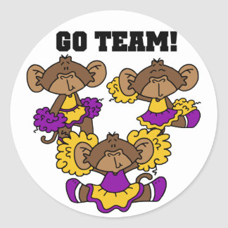 Go Team Purple and Gold Tshirts and Gifts Classic Round Sticker