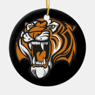 Go Tiger Double-Sided Ceramic Round Christmas Ornament