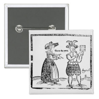 Go to the Wars, illustration from a pamphlet showi 2 Inch Square Button
