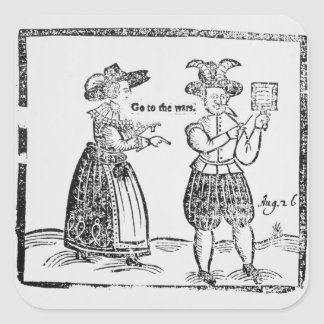 Go to the Wars, illustration from a pamphlet showi Square Sticker