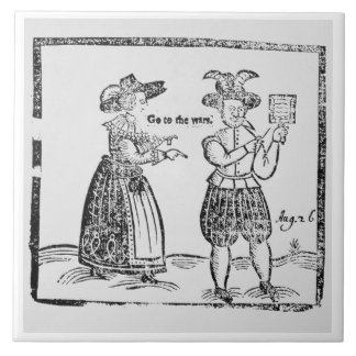 Go to the Wars, illustration from a pamphlet showi Large Square Tile